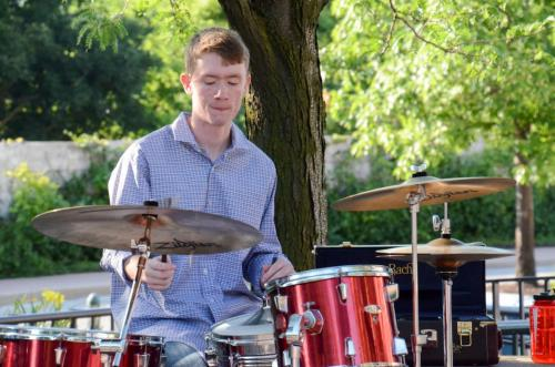 Sam on drums - Red Note Jazz Combo