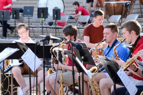Bass guitar and drum set add rhythm - Purdue Summer Jazz Band