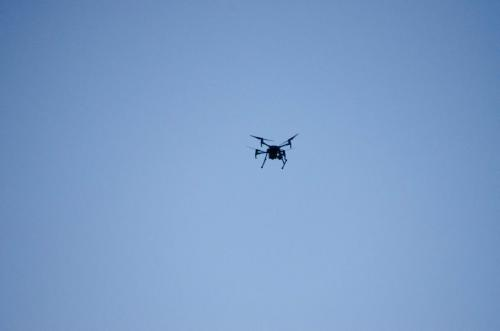 A drone overhead observes the concert!